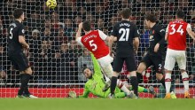 Sokratis scores for the gunners (Photo Credit: Reuters on Google)