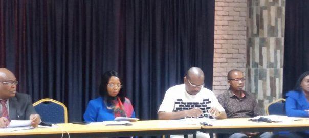L-R: Jude Igbanoi; Lawyer and Journalist, Gloria Egbuji; Executive Director, Crime Victims Foundation, Okechukwu Nwanguma; Executive Director, RULAAC, Justice Olamide; Head of Operations, NAPTIP, Lagos and Comfort Sani; Head of Research and Programmes, NAPTIP, Lagos.
