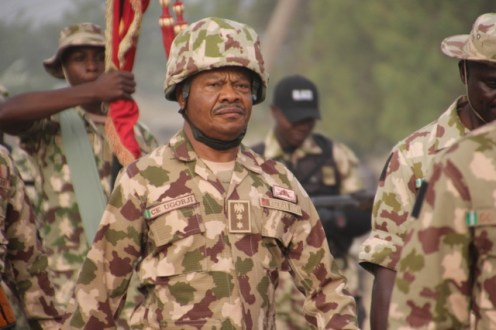 The CO 241 RECCE Battalion Nguru, Col. CE Ugorji marching with the officers