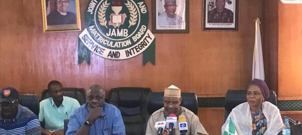 The Registrar of JAMB, Ishaq Oloyede, DG of NIMC, Aliyu Aziz and other officials during the press conference