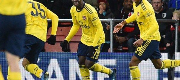Bukayo Saka celebrates after scoring
