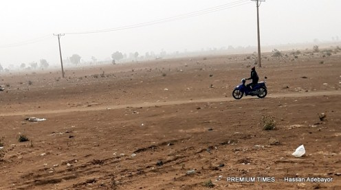 BORDER: One of the routes used by okada riders for illegal movement to Niger captured from far distance. A rider returns Niger Republic after an illegal movement of goods.