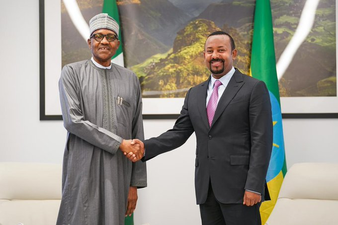 President Muhammadu Buhari and Ethiopian Prime Minister, Abiy Ahmed exchange handshakes [Photo: PM News]