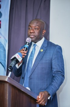 Kojo Oppong Nkrumah making his comments at the Tuesday launch of Dubawa at the SwissSpirit Alisa Hotel Accra.