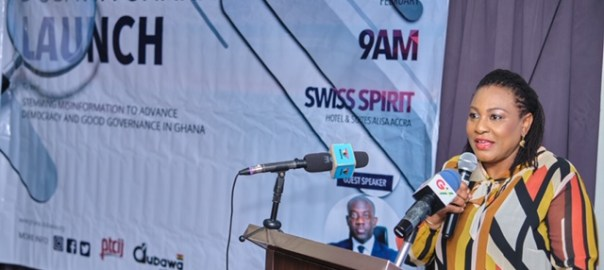 Chairperson at the event, Ms Josephine Nkrumah at the Dubawa launch in Accra Tuesday.