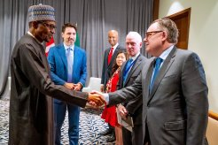 Bilateral Meeting with Canadian Prime Minister @JustinTrudeau today, on the sidelines of the AU Summit. [PHOTO CREDIT: Nigerian Presidency Twitter handle]
