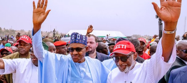 President Muhammadu Buhari with Ondo state governor, Rotimi Akeredolu during his visit to the state