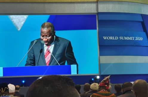Former President Goodluck Jonathan speaking at the World Summit 2020 in Seoul, South Korea,