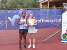 Oyinlomo Quadre (L) all smiles with Nahia Berecoechea. Quadre also came close to securing the girls doubles title, but fell just short in the super tiebreaker alongside Salma Loudili, her partner.
