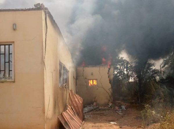 The INEC office on fire