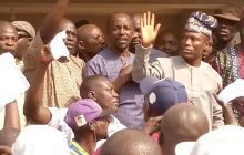 Showing Caretaker Chairman in Oluyole local Government Area, Olaide Settle while addressing his supporters on Monday.