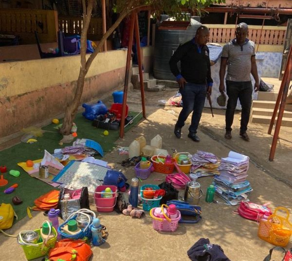 The pupils' school bags scattered around the school after the incident.