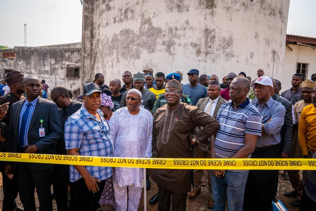 Gov. Kayode Fayemi at the site of the blast