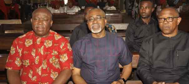 L-R: Umeh, Abaribe and Obi at the Church waiting for service to commence.