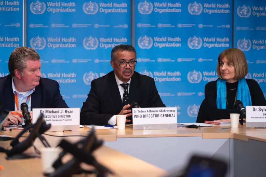 L-R: Dr Micheal J. Ryan, Executive Director; Dr Tedros Ghebreyesus, WHO Director General; Head of WHO's Global Infectious Hazard Preparedness division, Sylvie Briand.