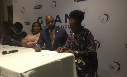 Mrs Ogunride, the programme director at Field of Skills and Dreams academy, at the grant- signing event in Lagos.