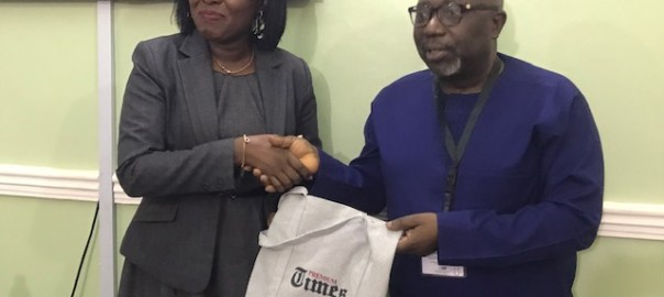 PREMIUM TIMES Publisher Dapo Olorunyomi and Country Director, Amnesty International Osai Ojigho during the visit on Thursday