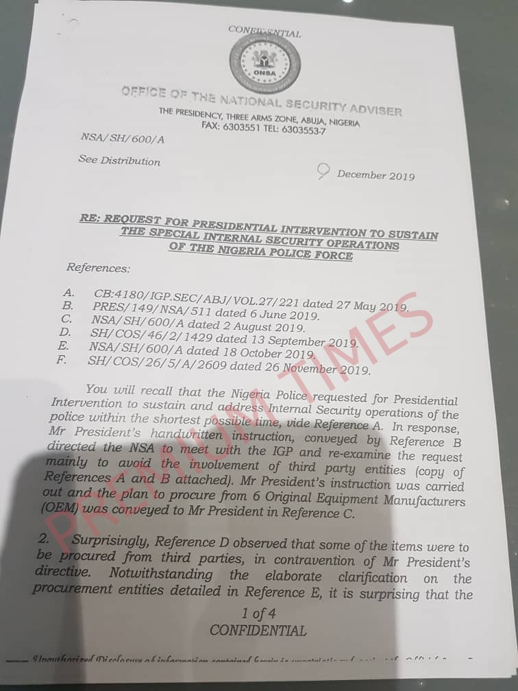 Additional documents on Monguno and Kyari face-off over police equipment contract