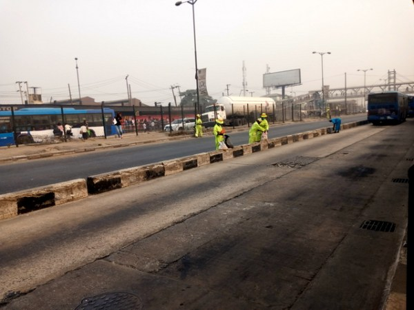 Street sweepers working at Ojota area of Lagos