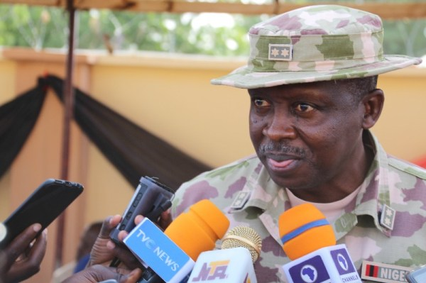 The Commander Sector II Operation Lafiya Dole, Major General Suleiman Idris addressing press at the event.