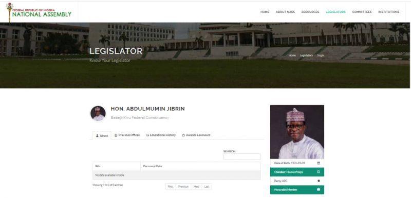 NASS website still showing Jubrin Abdulmuhmin as a lawmaker