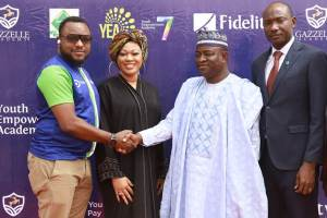 L-R: The Head Recruitment, CSR & Sustainability, Fidelity Bank Plc, Chris Nnakwe exchanges pleasantries with the Commissioner of Youth & Sport Development, Aminu Bala Bodinga at the opening ceremony of the Fidelity Youth Empowerment Programme (YEA 7) held in Sokoto State for undergraduates and other selected participants Sokoto State University… Monday while the Regional Bank Head (RBH), North west 2, Salihu Jibrin, and the Founder/CEO, Gazelle Academy, Muna Onuzo look on.