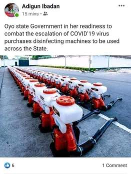 His post on Oyo government acquiring disinfecting machines