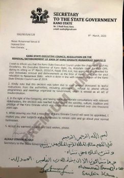 Emir Sanusi II's letter of dethronement