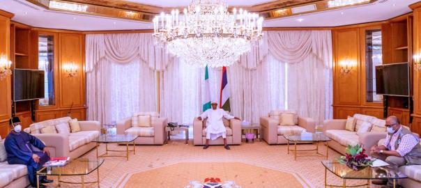 President Muhammadu Buhari meeting with Osagie Ehanire, minister of health, and Chikwe Ihekweazu,