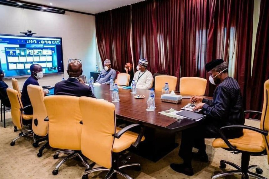 Vice President Yemi Osinbajo working by self isolating himself in his home office