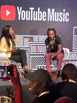 Naira Marley speaking at the YouTube Music App launch in Lagos on Wednesday