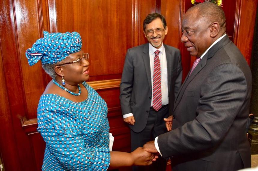Ngozi Okonjo-Iweala with President Cyril Ramaphosa [PHOTO CREDIT: @NOIweala]