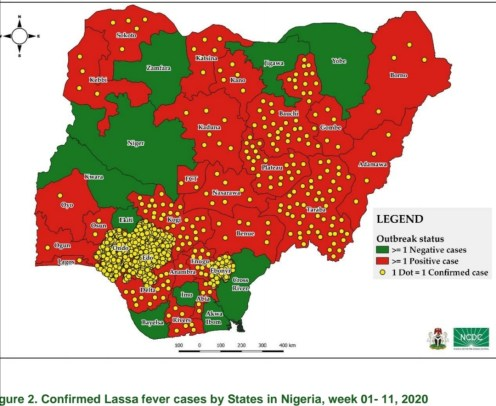 Lassa Fever: Map showing states affected