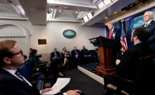 United State President Donald Trump addresses a coronavirus update briefing on April 22, 2020, in the James S. Brady Press Briefing Room of the White House.