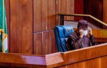 Speaker Femi Gbajabiamila at the Special plenary of the House of Representatives on Tuesday 28/4/2020 (Photo: Speaker's Office)