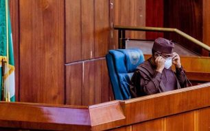 Speaker Femi Gbajabiamila at the Special plenary of the House of Representatives on Tuesday 28/4/2020 (Photo: Speaker's Office)