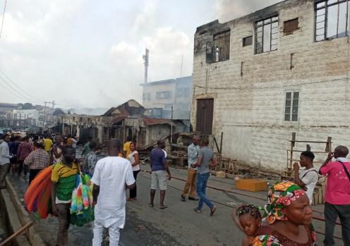 Fire scene at Dugbe market Ibadan