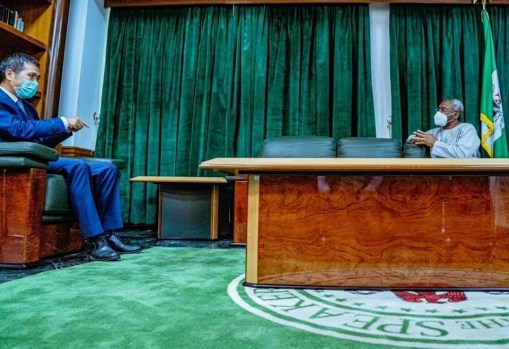 Speaker of the House of Representatives, Femi Gbajabiamila meeting with Chinese Ambassador. Photo Credit: Speaker's office