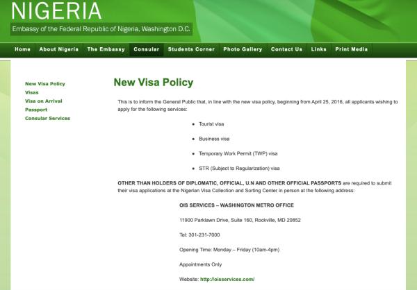 Nigeria Embassy US Screenshot