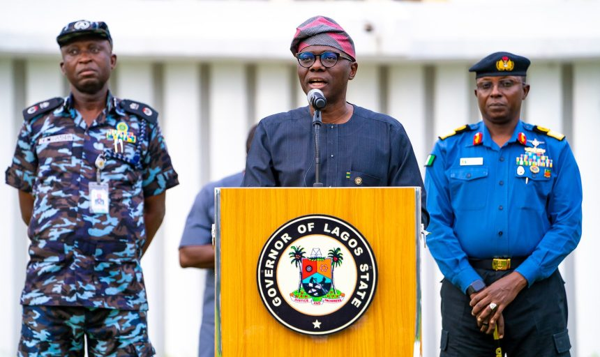 Lagos State Governor, Mr. Babajide Sanwo-Olu (middle); Commissioner of Police, Lagos Command, Mr. Hakeem Odumosu (left) and Commander, Nigeria Navy Ship (NNS) Beecroft, Apapa, Commodore Ibrahim Aliyu Shettima (right), during a media address after the State Security Council meeting at Lagos House, Marina, on Saturday, April 4, 2020.