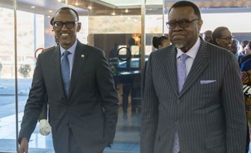 President Paul Kagame and his Namibian counterpart President Hage Gottfried Geingob during Kagame's three-day visit to Namibia