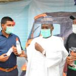 Simba Group: L-R: Member of Network of Civil Society Organisations, Ambassador Usman Ibrahim; Senior Staff, Simba TVS, Mr Sajid Saifi; Commissioner for Transportation, Borno State, Honourable Abubakar Tijani; and Chairman, Network of Civil Society Organisations, Ambassador Ahmed Shehu during the distribution of 'Safety and Health' Kits to Tricycle (Keke) Riders by Simba TVS in Borno State recently.