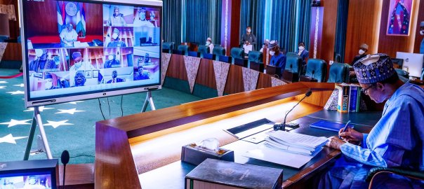 President @MBuhari is currently presiding over the virtual Federal Executive Council (vFEC) Meeting at the State House, Abuja, the New Chief of Staff, Amb. Ibrahim Gambari in attendance [PHOTO CREDIT: @BashirAhmaad]