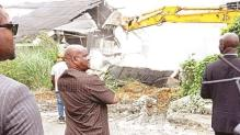 Gov. Wike supervising the hotel demolition in Rivers state