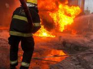 Scene of fire outbreak st Oando filling station, Obalende area of Lagos,