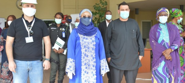 From left: Group Managing Director, Kougar, Rony Melhem, Honorable Minister of State for FCT, Dr. Ramatu Tijani Aliyu, Member FCT Advisory Committee on Covid-19, Mohammed Jammal and Ag Director, Reform Coordination and Service Improvement, FCTA, Dr. Jummai Ahmadu.