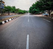 Empty street in Abuja during lockdown