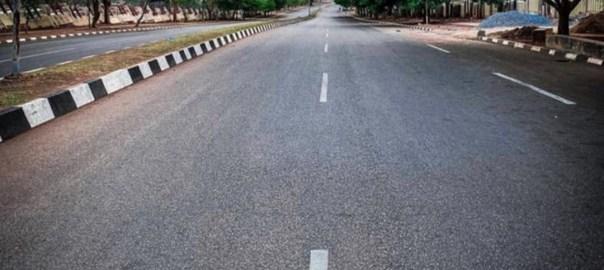 Empty street in Abuja during lockdown