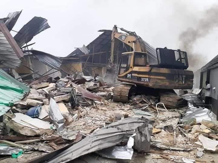 One of the demolished hotels in Rivers state