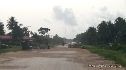 Soldiers on checkpoint at Badagry to Owode road